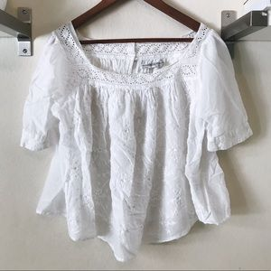 All Saints White Embroidered Top